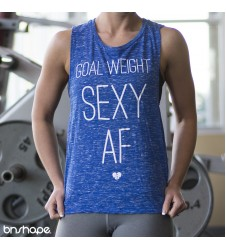 Goal Weight: Sexy AF Muscle Tank (BLUE Marble/White)