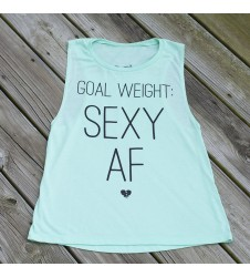 *PRE-ORDER* Goal Weight: Sexy AF Muscle Tank - Mint/Black